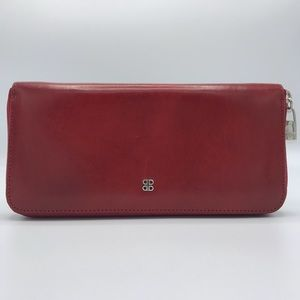 NWT Bosca Old Leather Zip Around Wallet Brick Red